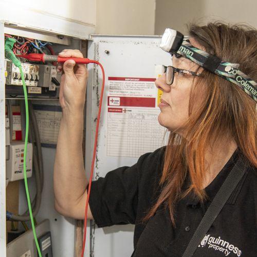 Geraldine checking wiring